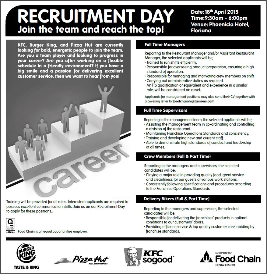 Recruitment Day: KFC, Burger King, Pizza Hut - ETC Youth