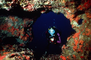 One of the many underwater caves in Malta and Gozo