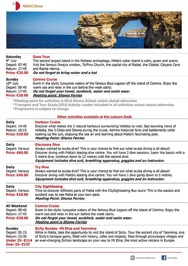 IELS Malta Sample Activity and Excursions Programme for Adults